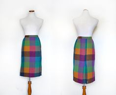 1960s Plaid Skirt /  50s 60s Pencil Skirt / by MinxouriVintage