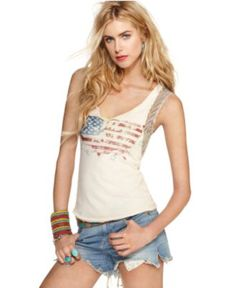 Pledge allegiance to looking stylish all summer with this Free People distressed, flag-printed tank @Macy's Official