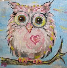 'Baby Pink Hoot Owl' by Blue Sea Paint Shop