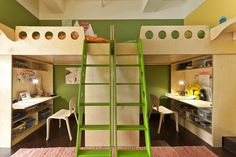 The mirrored Dumbo Loft Beds from Casa Kids are the perfect solution for this long, narrow space shared by Namhka and Riga. These mirrored loft beds provide harmony between the two siblings, who enjoy both shared space, as well as their own personal niches. The desks are intentionally positioned to face outwards so that each child isn't distracted during study time.