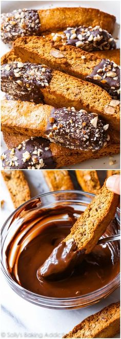 Sweetened with brown sugar, flavored with toasted almonds, and dipped in chocolate puts this crunchy biscotti at the top of my coffee pairing list! Recipe on sallysbakingaddiction.com