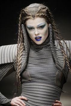 future fashion, avant-garde, future girl, futuristic look, gareth pugh, futuristic style, character, hairstyle, blue lips,futuristic make up...