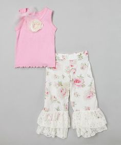 Look what I found on #zulily! Pink Rose Tank & Floral Ruffle Pants - Toddler & Girls by Ruby and Rosie #zulilyfinds