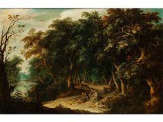 WALDLANDSCHAFT MIT DIANA UND NYMPHEN Öl auf Holz. 69 x 107 cm. Abraham Govaerts arbeitete zwischen 1607 und 1626 in Antwerpen und malte vor allem...