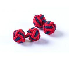 Spinki węzełki - granatowo-czerwony jedwab