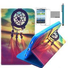 """coco fun® Chinese knoop patroon pu lederen flip stand case met film en stylus voor de Samsung Galaxy Tab 3 7 """"T210 P3200 - EUR €18.99"""