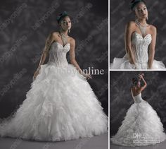 Wholesale 2013 Babyonline Ball Gown Organza Wedding Dresses with Beaded Embroidery and Corset Back CW 1591005, Free shipping, $156.8-169.12/Piece | DHgate