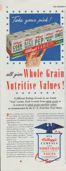 "Description: 1942 KELLOGG'S vintage print advertisement ""Whole Grain Nutritive Values!"" -- 6 different Kellogg's Cereals in one handy ""tray"" carton. Each is made from whole grain or is restored to whole grain nutritive values as recommended by the U.S. Nutrition Food Rules. -- Size: The dimensions of the half-page advertisement are approximately 5.5 inches x 14 inches (14 cm x 36 cm). Condition: This original vintage advertisement is in Very Good Condition unless otherwise noted."
