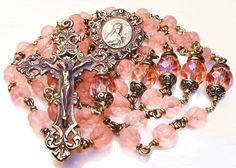 Saint Therese rosary with pink rose beads