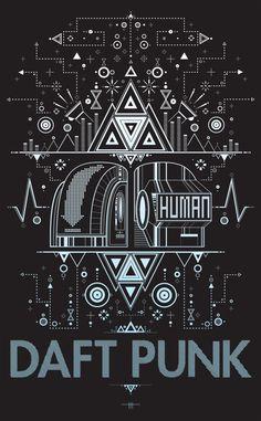 Daft Punk Poster por TaylorHicksArtShoppe en Etsy