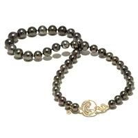 Tahitian Black Pearl Strand with Diamonds in 14K Yellow Gold (8-11mm) [006-13903] $6,675.00