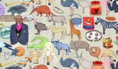 Iconic South Africa fabric by Alex Latimer. We adore his humorous illustrations of familiar South African personalities, animals and products.