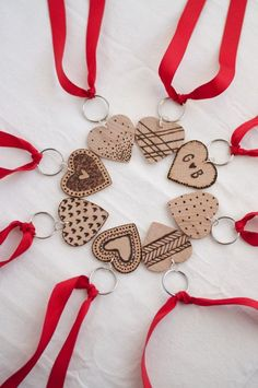 Etched Wooden Heart Key Chains