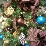 Brown & Aqua Blue Tree Decor