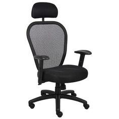 Boss Office Products High-Back Professional Conference Mesh Chair with Headrest and Arms