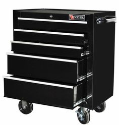 Excel TB2230BBSC-Black 26-Inch Steel Roller Cabinet, Black Five ball bearing slide drawers. Lock with two keys. Side handle. Full length aluminum drawer pulls. Powder coat paint finish.  #Excel #Home_Improvement