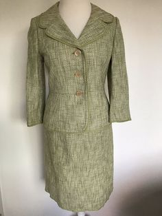 c4223ddb9371 Ann Taylor suit skirt green cotton 2 piece Size 6 Free Shipping  AnnTaylor   SkirtSuit