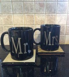 mr and mrs wedding coffee cup mug set by GlitzyGlitterGal on Etsy