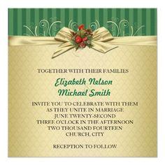 Gold Damask Christmas Ribbon Wedding Invite