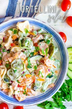 Easy Tortellini Salad is the perfect side dish for entertaining! Made with tortellini, Italian dressing, Parmesan, cucumbers, tomatoes and more! Ideal for potlucks, holidays, and BBQs! // Mom On Timeout #tortellinisalad #saladrecipes #pastasalad #sidedish #sidedishes #sides #summer How To Make Tortellini, Pasta Salad With Tortellini, Easy Pasta Salad, Cheese Tortellini, Pasta Salad Recipes, Creamy Cucumber Salad, Green Bean Recipes, Italian Dressing, Potlucks