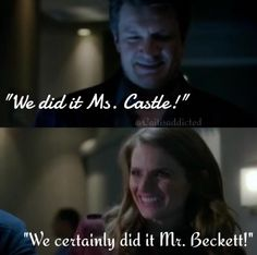 """We did it ms. Castle!"" ""We certainly did it mr. Beckett!"" Season 7 episode 7 'Once Upon A Time In The West'. #caskett #castletvshow #rickcastle #katebeckett #caskettwedding"