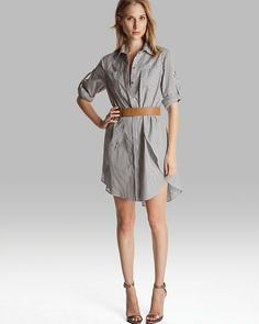 Halston Shirt Dress - Belted with Overlay Detail on shopstyle.com