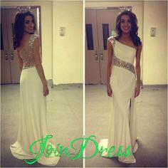 189 USD.One Shoulder Long Prom Dresses,White Chiffon Beaded Prom Dresses
