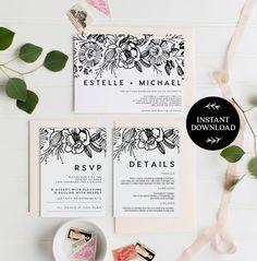 Printable Wedding Invitation Editable pdf Template, INSTANT DOWNLOAD, Printable invite DIY Rustic Save the Date, pdf, Digital file - Estelle