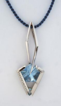 Dene Design 14K German Cut Blue Topaz Pendant with Diamonds. Dene Gallery 331-248-0041.