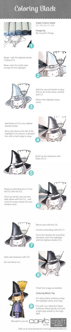 Copic Marker Tutorial: Coloring Black with a cute little witch. Copic Marker Art, Copic Pens, Copic Art, Copic Sketch, Copics, Prismacolor, Coloring Tips, Colouring Pages, Coloring Books
