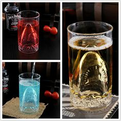 CT-421 2013 novelty cup 350ml double layer shark attack glass cup
