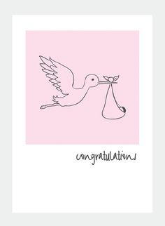 MM40 pink stork (Pack of 6), Greeting Card, Pink stork, new baby