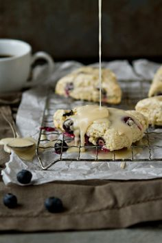 Lemon Blueberry Scones with Lemon Glaze | MyBakingAddiction.com