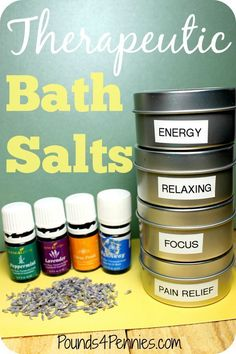 Therapeutic Bath Salts with essential oils. Great gift idea for any occasion. Homemade bath salts. How to make bath salts for anyone.