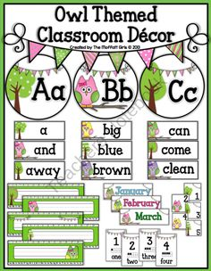 Owl Themed Classroom Decor from TheMoffattGirls on TeachersNotebook.com (115 pages)  - Owl Themed Word Wall Decor and MORE!!
