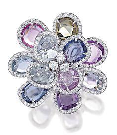 Rosamaria G Frangini | Modern Jewellery | Multicoloured Sapphires and Diamond Ring