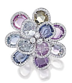 Rosamaria G Frangini | Modern Jewellery | Multicoloured Sapphires and Diamond Ring