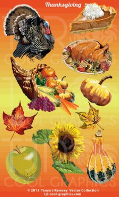 Thanksgiving Collection  Vector Clip Art by CleverVectors on Etsy, $3.95