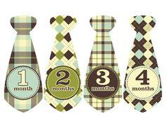 Gingham Tie, Baby Tie Monthly Baby Sticker Plaid Tie