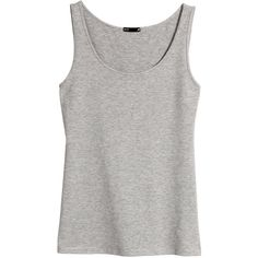 H&M Jersey top (19 PEN) ❤ liked on Polyvore featuring tops, basic, tank tops, grey marl, cotton jersey, gray tank, grey top, cotton tank tops and gray top