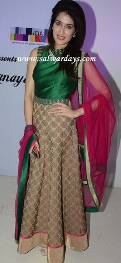 Checkout actress and model sagarika in green and beige long salwar kameez with gold shimmer border and paired with pink georgette dupatt. Indian Gowns, Indian Attire, Indian Outfits, Indian Look, Indian Ethnic Wear, Anarkali Dress, Anarkali Suits, Lehenga, India Fashion