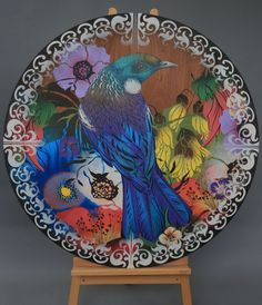 round commission works… available on request. Tui Bird, New Zealand Art, Nz Art, Maori Art, Kiwiana, Dream Art, Stencil Art, Community Art, Public Art