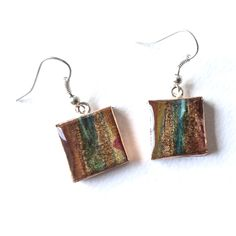 Square Papier-Mache Earrings by HilaryBravo on Etsy