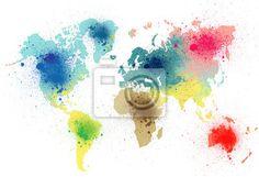 Fotomural colorido mapa del mundo con salpicaduras de pintura