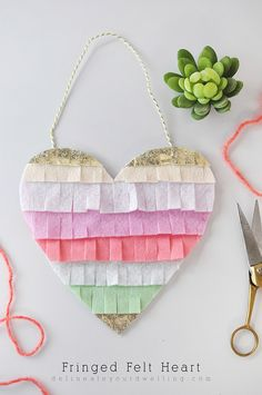 Fringed Felt Heart,