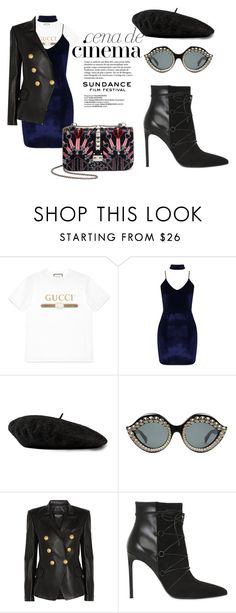 """Sundance Film Festival"" by wasted-luxury ❤ liked on Polyvore featuring CENA, Gucci, Boohoo, Balmain, Yves Saint Laurent and Valentino"