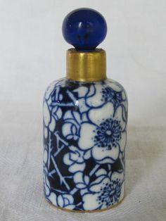 Antique miniature blue floral perfume bottle with cobalt glass stopper
