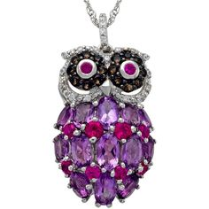 Sterling Silver Multi-Gemstone Owl Pendant Necklace ($250) ❤ liked on Polyvore featuring jewelry, necklaces, animals, owl pendant, animal pendant necklace, gemstone necklaces, sterling silver pendant necklace and gemstone pendants