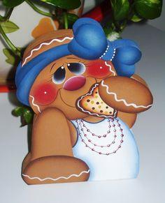 Handpainted Gingerbread Girl Shelf Sitter by stephskeepsakes, $9.95