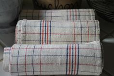 """Linen Cloths,""""torchons"""", tea towels.   Wonderful to use as origionaly intended or use to create something new."""